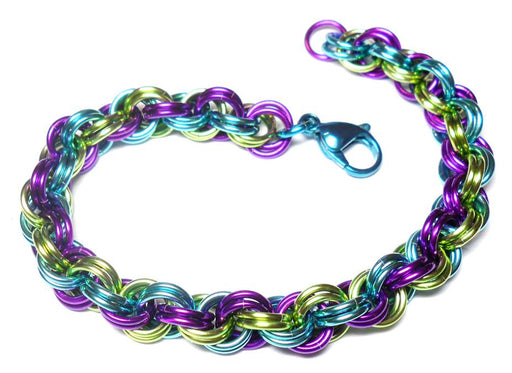 HyperLynks Double Spiral Bracelet Kit - Confetti (Turquoise/Lime/Violet and Turquoise Stainless Steel Lobster Clasp)