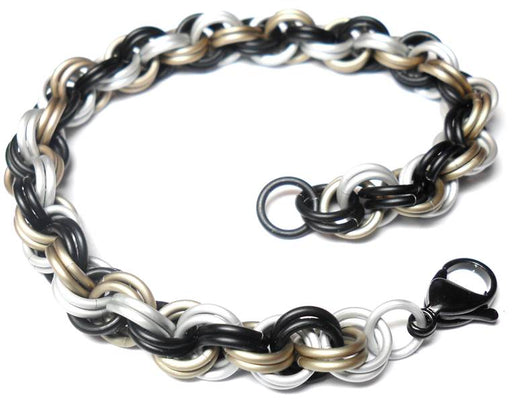 HyperLynks Double Spiral Bracelet Kit - Chocolate (all matte rings: Matte Black/Khaki/White and Black Stainless Steel Lobster Clasp)