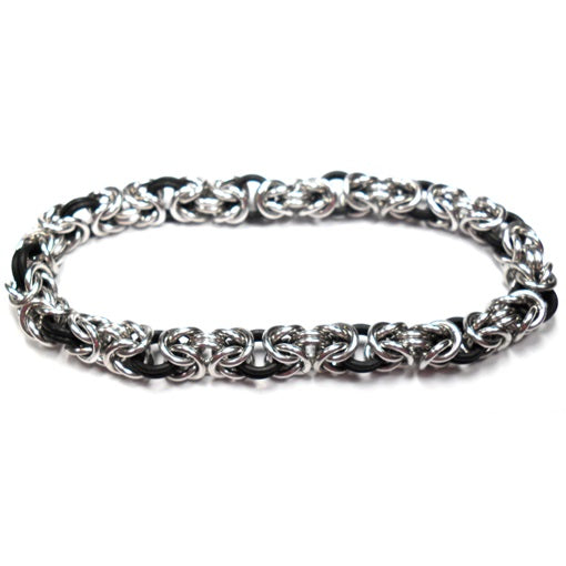 HyperLynks Stretchy Byzantine Bracelet Kit - Bright Aluminum and Black