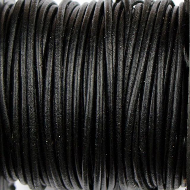 2mm Indian Leather - Black