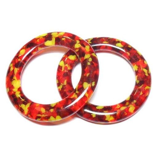 LovelyLynks Large (approx. 45mm diameter) Glass Circles - Fire