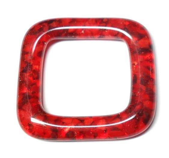 LovelyLynks Large (34mm x 34mm) Glass Squares - Red