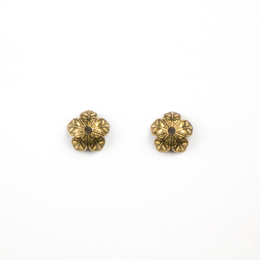 4.5mm x 8.6mm Etched Daisy Bead Cap - Antique Gold***