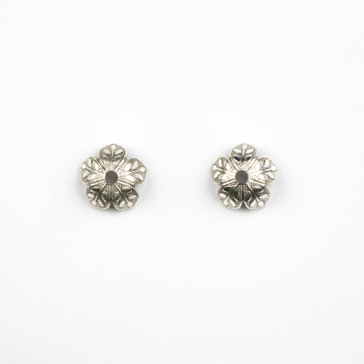 4.5mm x 8.6mm Etched Daisy Bead Cap - Antique Silver***