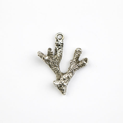 26.1mm x 20.9mm x 5.9mm Coral Charm - Antique Silver