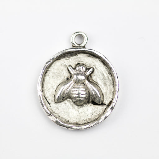 23.9mm x 19.5mm x 3.2mm Bee Charm - Antque Silver***