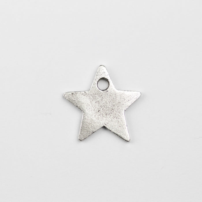 13.5mm x 13.7mm x 1.2mm Flat Star Tag - Antique Silver