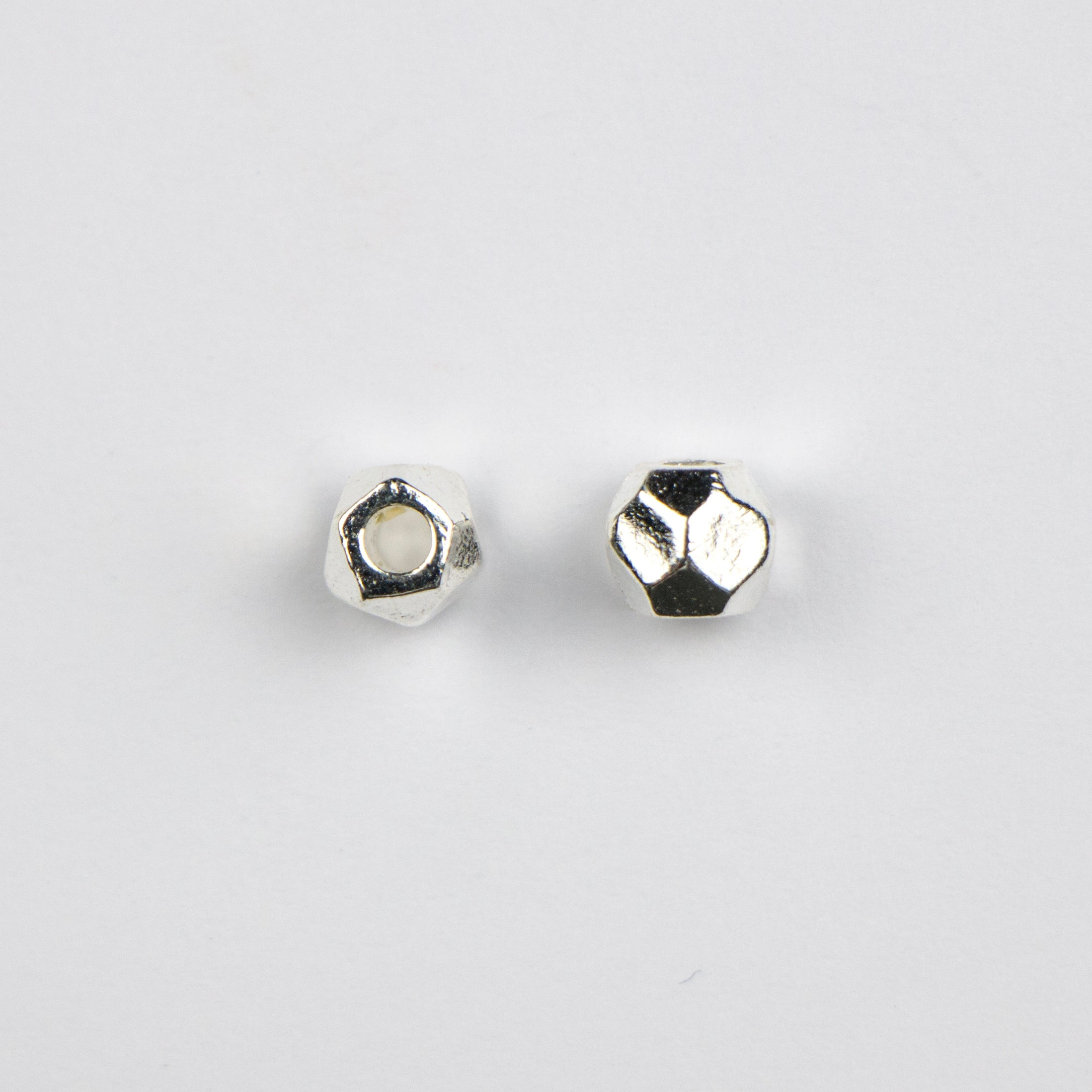 5.1mm x 6.0mm Faceted Round Metal Bead - Stirling Silver Plate***