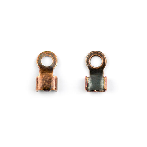5mm x 3.8mm Ribbon End Leather Connector - Antique Copper