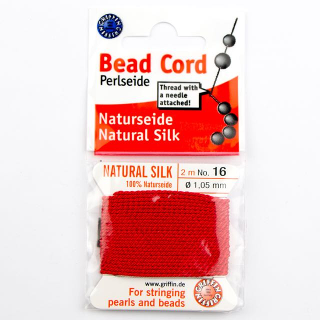 Size 16 (1.05mm) - 100% Natural Silk Bead Cord - Red