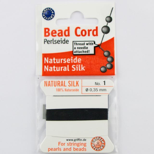 Size 1 (.35mm) - 100% Natural Silk Bead Cord - Black