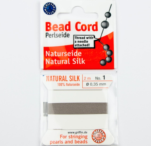 Size1 (.35mm) - 100% Natural Silk Bead Cord - Grey