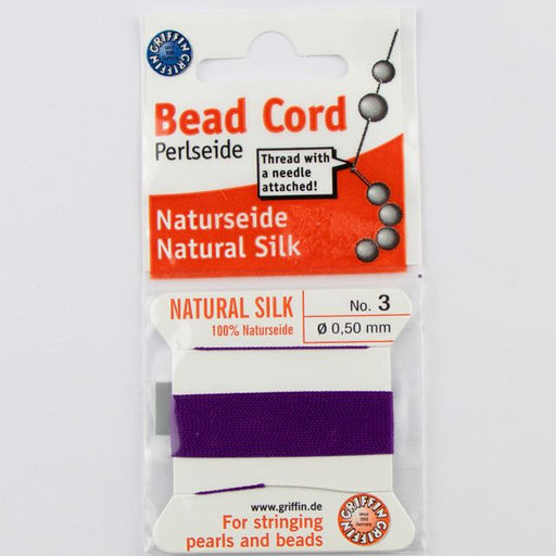 Size 3 (.50mm) - 100% Natural Silk Bead Cord - Amethyst