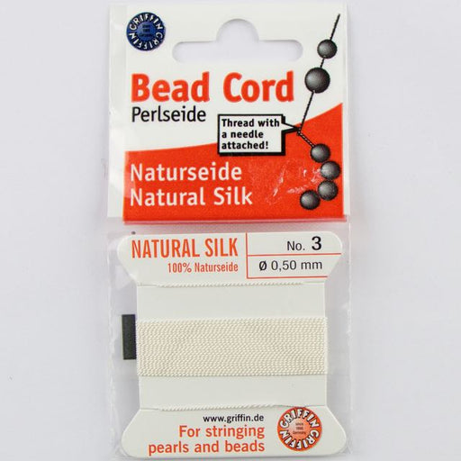 Size 3 (.50mm) - 100% Natural Silk Bead Cord - White