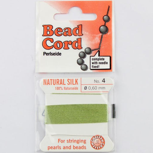 Size 4 (.60mm) - 100% Natural Silk Bead Cord - Green