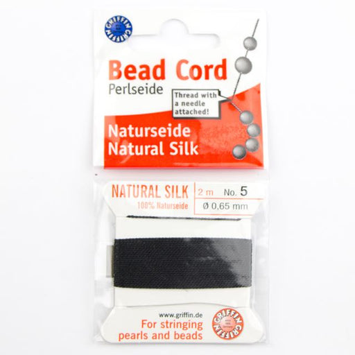 Size 5 (.65mm) - 100% Natural Silk Bead Cord - Black