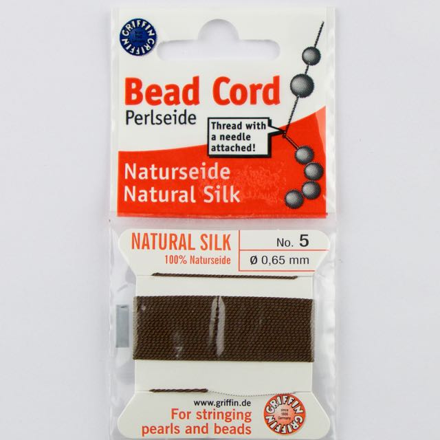 Size 5 (.65mm) - 100% Natural Silk Bead Cord - Brown