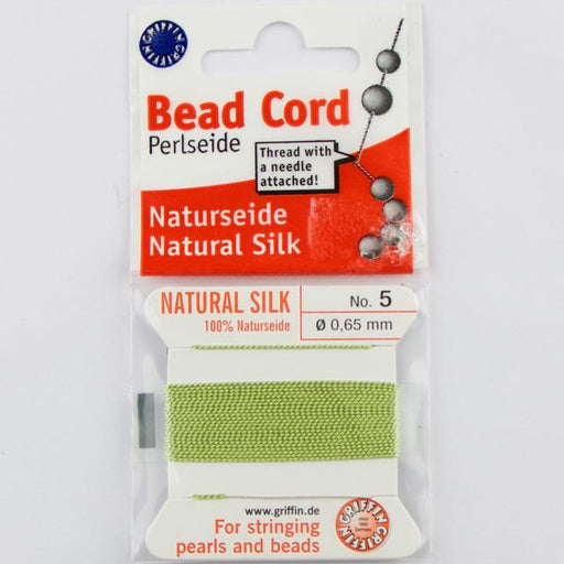 Size 5 (.65mm) - 100% Natural Silk Bead Cord - Green