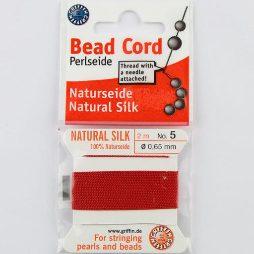 Size 5 (.65mm) - 100% Natural Silk Bead Cord - Red