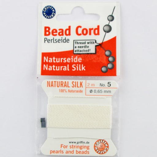 Size 5 (.65mm) - 100% Natural Silk Bead Cord - White