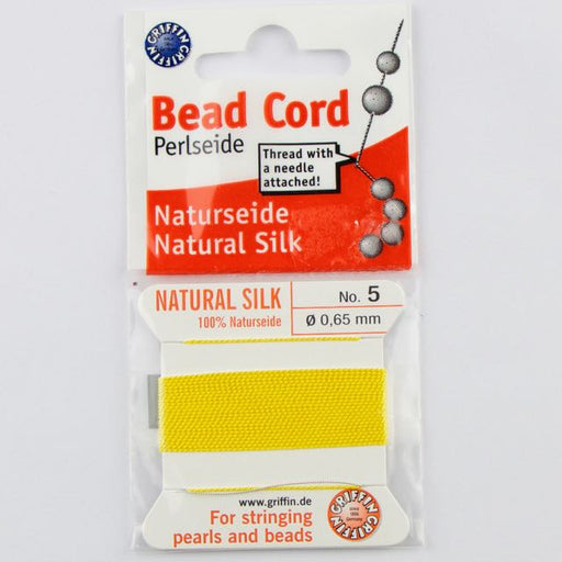 Size 5 (.65mm) - 100% Natural Silk Bead Cord - Yellow
