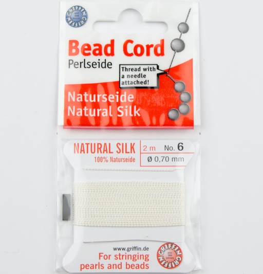 Size 6 (.70mm) - 100% Natural Silk Bead Cord - White