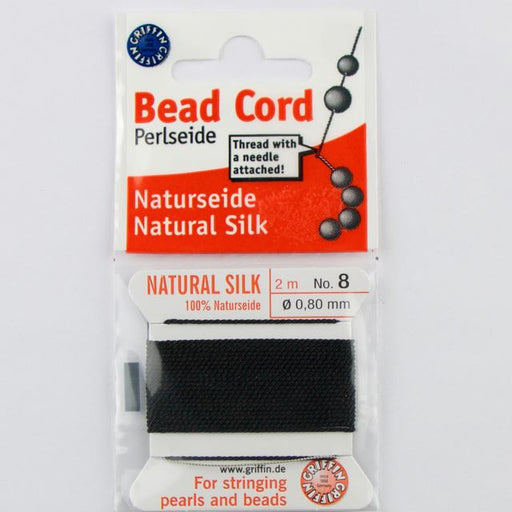 Size 8 (.80mm) - 100% Natural Silk Bead Cord - Black
