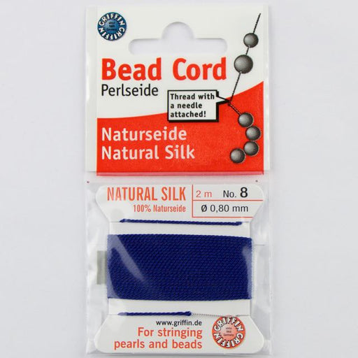 Size 8 (.80mm) - 100% Natural Silk Bead Cord - Dark Blue