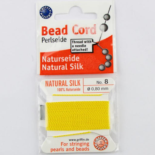 Size 8 (.80mm) - 100% Natural Silk Bead Cord - Yellow
