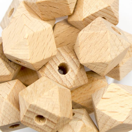 17mm Natural Wood Hexagon Bead