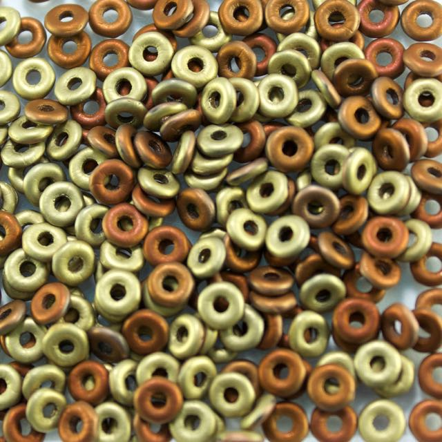 1mm x 3.8mm O Bead - Jet Matted Khaki