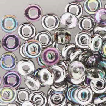 1mm x 3.8mm O Bead - Silver Rainbow