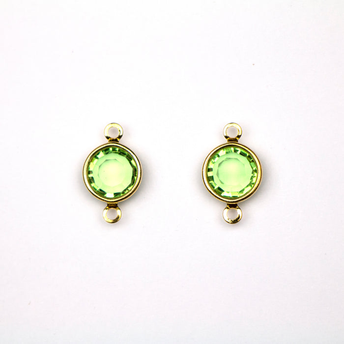 Preciosa 39SS (8mm) PERIDOT Crystal in 2-Ring Round Channel - Gold Plated***
