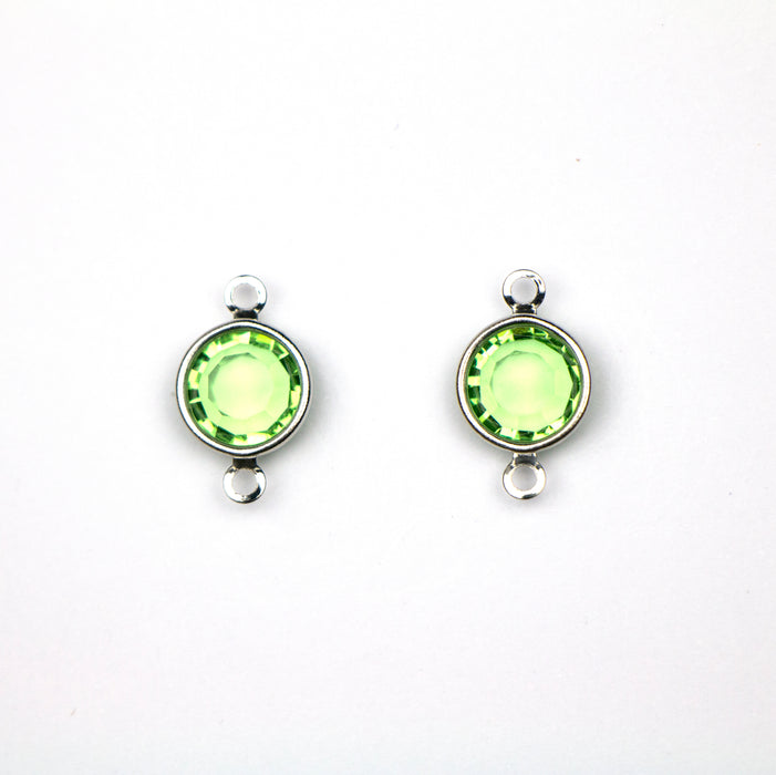 Preciosa 39SS (8mm) PERIDOT Crystal in 2-Ring Round Channel - Rhodium Plated***