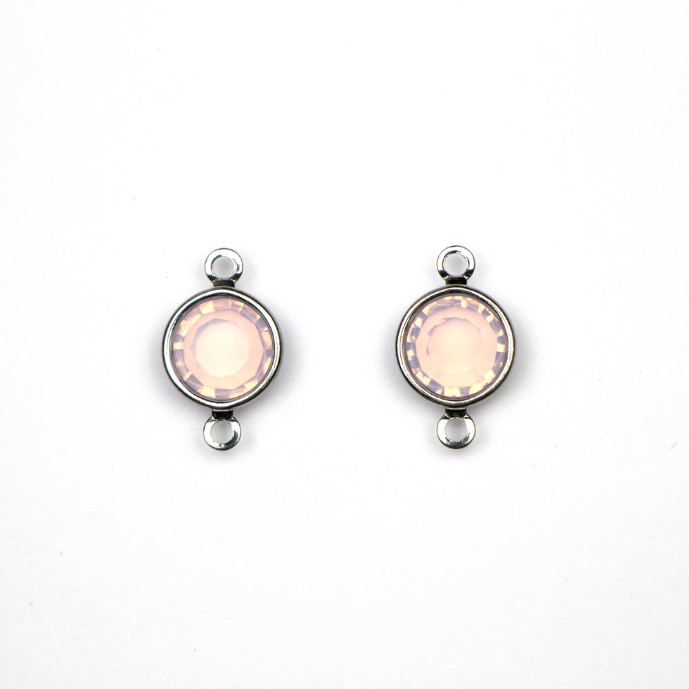 Preciosa 39SS (8mm) ROSE OPAL Crystal in 2-Ring Round Channel - Rhodium Plated***