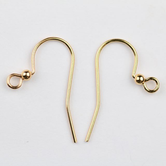 25mm Hook Ear Wire with 2mm Ball - Gold