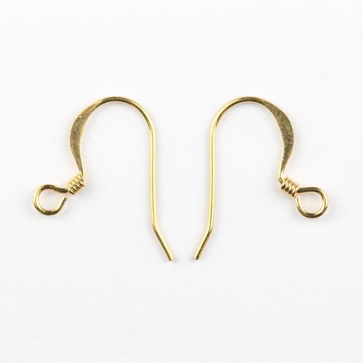18mm Hook Ear Wire with Coil - Gold