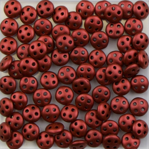 Four-Hole 6mm x 8mm QUADRALENTIL Bead - Metallic Suede Pink