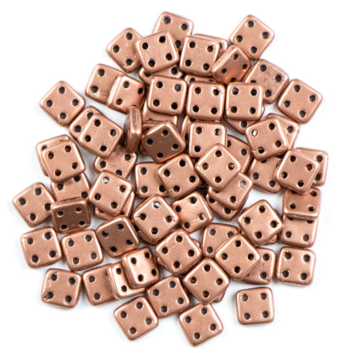 Four-Hole 6mm x 6mm QUADRATILE Bead - Matte Bronze Copper