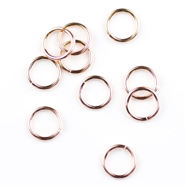 "Rose Gold Filled 6mm Round Jump Ring - Open - .030""/.7mm/20.5  gauge."