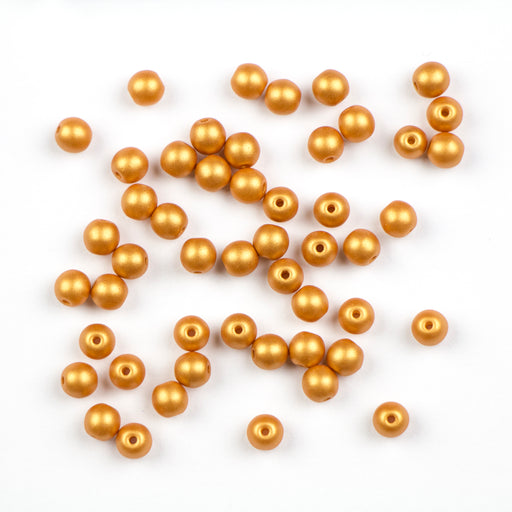 4mm Druk - Alabaster Metallic Gold