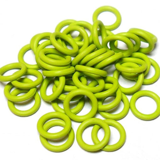 16swg (1.6mm) 1/4in. (6.7mm) ID 4.1AR  EPDM Rubber Jump Rings - Lime