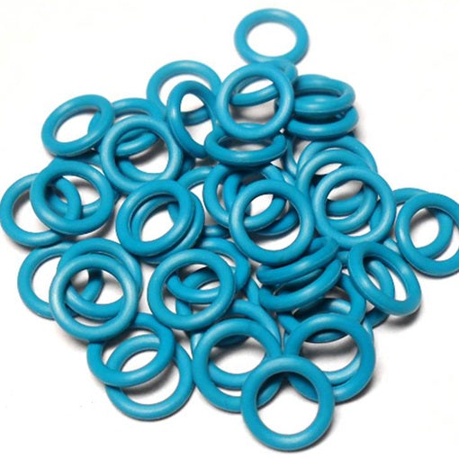 16swg (1.6mm) 3/8in. (10.0mm) ID 6.3AR  EPDM Rubber Jump Rings - Azure
