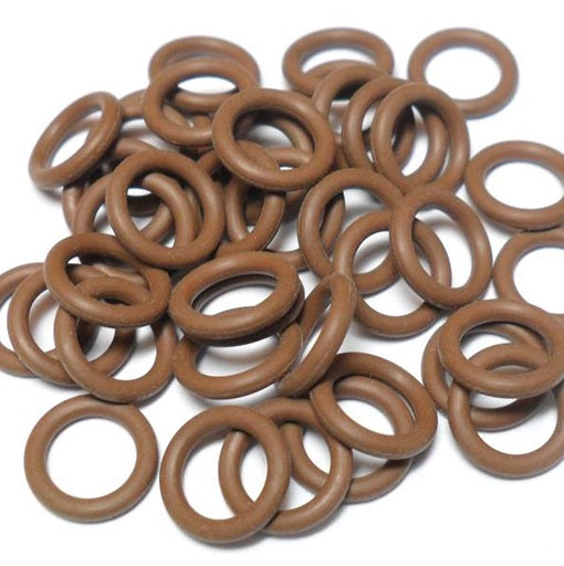 16swg (1.6mm) 3/8in. (10.0mm) ID 6.3AR  EPDM Rubber Jump Rings - Chocolate