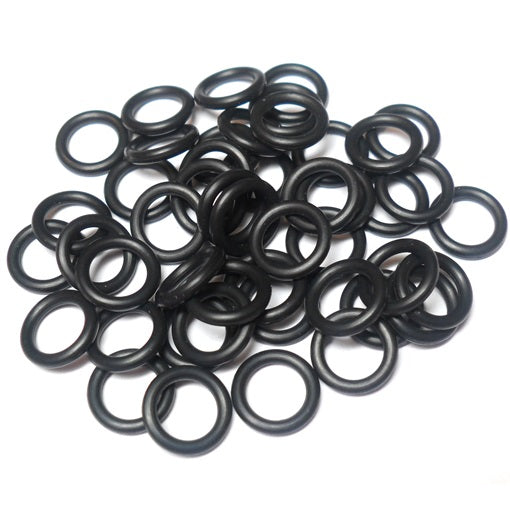 18swg (1.2mm) 1/4in. (6.5mm) ID 5.4AR  EPDM Rubber Jump Rings - Black