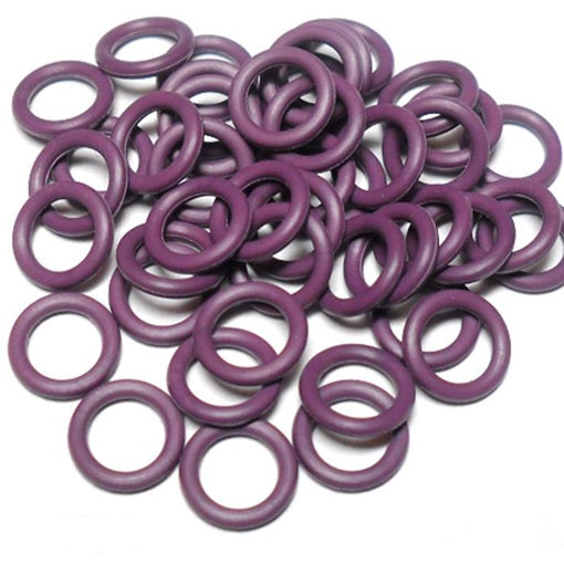 19swg (1.0mm) 5/64in. (2.0mm) ID 2.0AR  EPDM Rubber Jump Rings - Purple