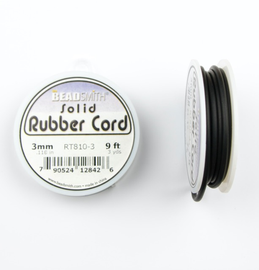 3mm Solid Rubber Cord - Black