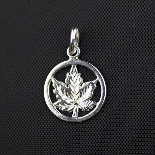 Sterling Silver Smooth Maple Leaf Charm (14mm Diameter x 1mm)