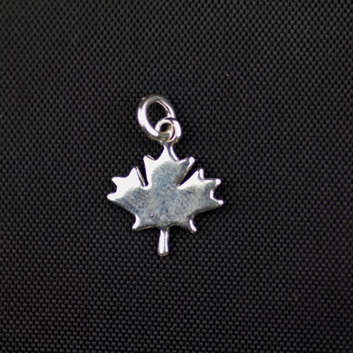 Sterling Silver Smooth Maple Leaf Charm (12mm x 12mm x 1mm)