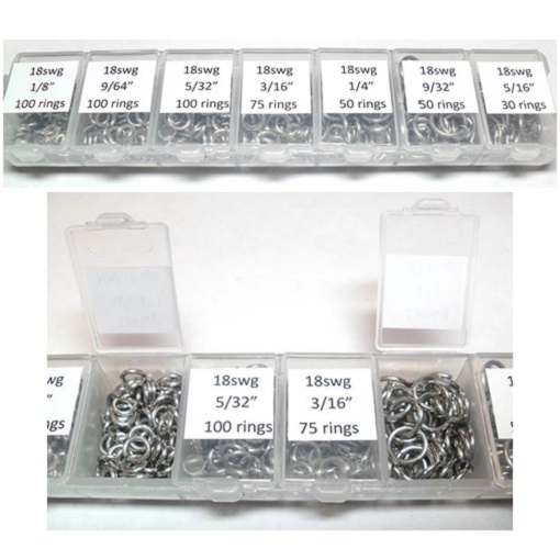 A Sampler pack of slightly softer saw-cut stainless steel jump rings.